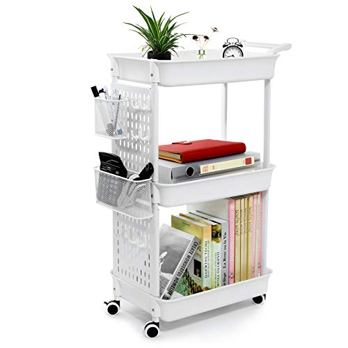 WiseWater 3 Tier Rolling Cart with Removable Pegboard, Rolling Utility Cart with 8 Hooks and Noiseless Wheels, Storage Cart Organizer for Office Kitchen Bathroom, White