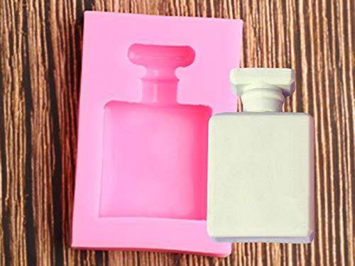 YCHH 3D Perfume Botella de Silicona Molde de Silicona Pastel de Boda Herramientas de decoración Magdalena Topper Chocolate Gumpaste Fondant Molde Hornear Moldes para Hornear