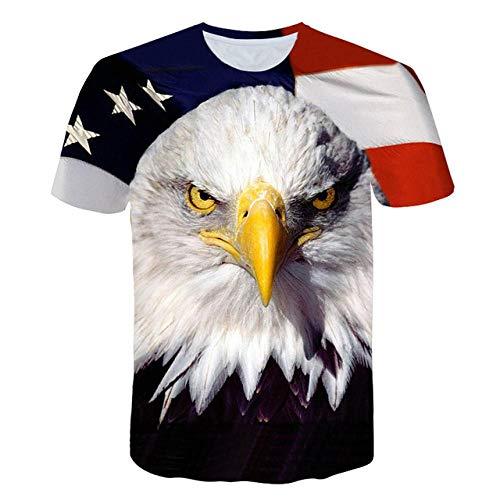 DXXHR Hommes Femmes Mode 3D t-Shirt Harajuku Tee USA Aigle Prints t-Shirts Homme Femme Hipster Drapeau Américain t-Shirts t-Shirts