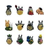 My Neighbor Totoro Figurines Set, 12 Pcs Studio Gahibli Miniature Totoro Figures Set Including Chu Totoro, Chibi and Catbus For Fairy Garden Cake Topper