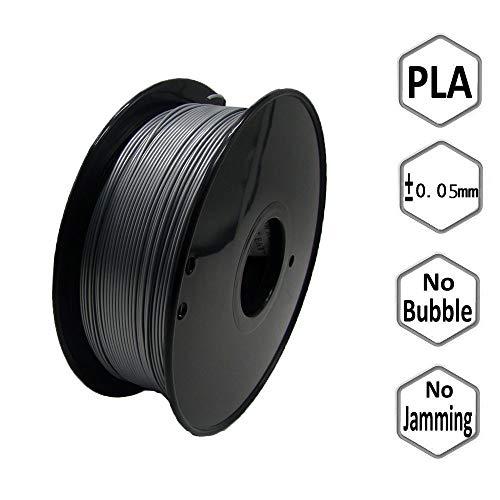 AWDLCY 3D Printer PLA Filament,3D Printing Filament Low Odor,1.75mm 1Kg 1 Spool for 3D Printers & 3D Pens (Silver)