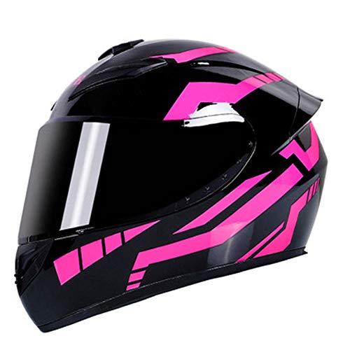 RTGE DOT-zertifizierter Motorrad Integralhelm für Erwachsene mit 3 Linsenoptionen Herren Damen Motorrad helme Sturzhelm für den täglichen Pendelverkehr (schwarz-rosa Streifen),A,55~57cm M