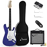 Donner Solid Body Full-Size 39 Inch Electric Guitar Kit Sapphire Blue, Beginner Starter Electric Guitar Bundle, with 10 Watt Amp, Bag, Strap, Cable