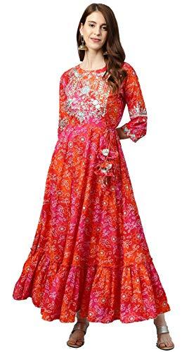 rytras Women's Cotton Printed Anarkali Embroidery Kurti(Red & Orange,XL)
