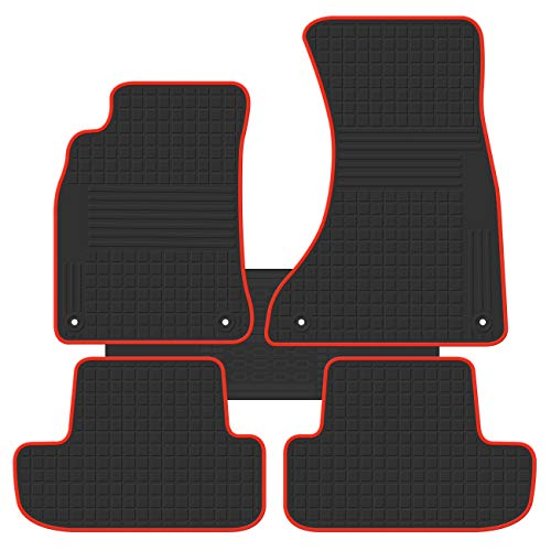 biosp Car Floor Mats for Audi A5 2009 2010 2011 2012 2013 2014 2015 2016 Front and Rear Seat Heavy Duty Rubber Liner Black Red Edge Vehicle Carpet Custom Fit-All Weather Guard Odorless