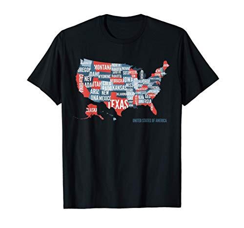 Mapa de los Estados Unidos de América Geografía escolar Camiseta