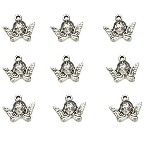 50 PCS Tibetan Antique Silver Fairy Angel Charms Pendant DIY Jewelry for Necklace Bracelet Making Accessaries 19X16mm (50pcs)