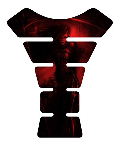 Size is 8.5' x 6.9' Motorcycle She Reaper Red Sportbike 3D Gel Tank Pad tankpad Protector Decal Universal sticker