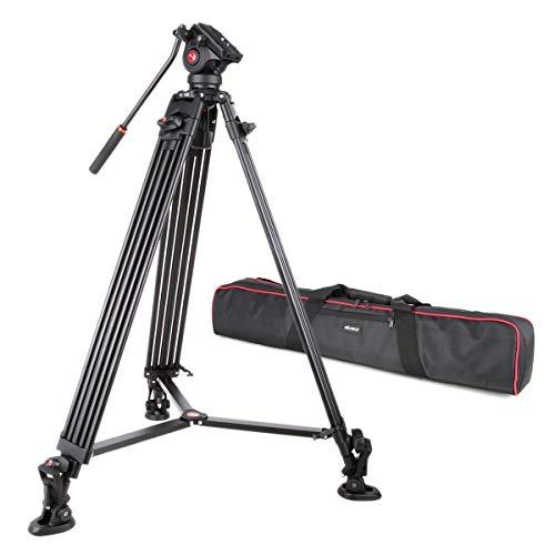 VILTROX VX-18M プロ級 三脚 一眼レフカメラ ビデオカメラ通用 ポータブル 雲台 3段伸縮 360度回転 最大荷重10KG 最大高さ1.88M クイックリリースプレート&キャリングバッグ付き