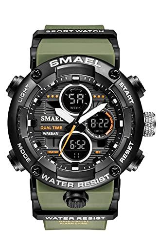 Relojes Hombre Militar Verde Relojes Grandes de Pulsera Digital Deportivos Cronometro LED Impermeable Reloj Goma Analogicos Digitales Multifuncion Alarma Calendario Diseño Clásica Moda Luminosa