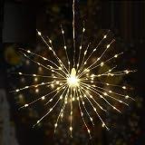 SALCAR Cadena de luz mágica de cobre, 30 cm, 3 LED, cadena de cobre x 60 piezas, total 180 LED Decoración del hogar de Navidad, hermosa luz de fuegos artificiales con control remoto, blanco cálido