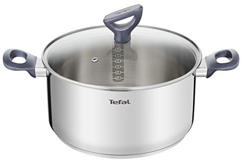 Tefal Daily Cook - Cacerola acero inoxidable con Tapa de 24 cm, 4 Litros, base reforzada, aptas para todo tipo de cocinas incluido inducción, gran conductividad y resistencia con materiales reciclados