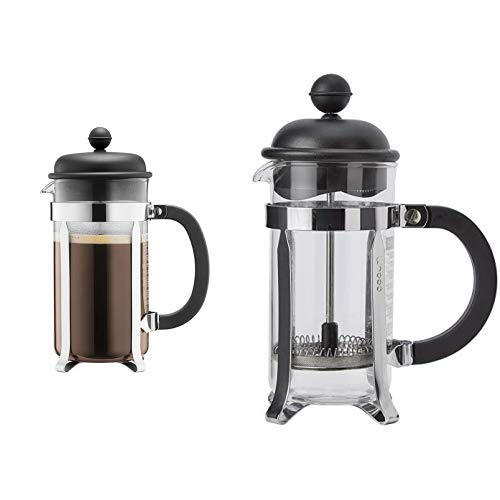 Bodum CAFFETTIERA Kaffeebereiter (French Press System, Permanent Edelstahlfilter, 1,0 liters) &  1913-01 CAFFETTIERA Kaffeebereiter (French Press System, Permanent Edelstahlfilter, 0,35 liters)