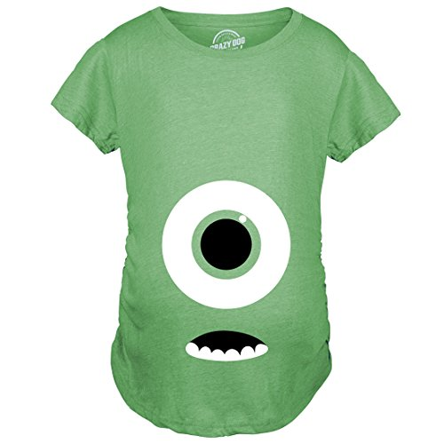 Crazy Dog Tshirts - Maternity Monster Eye Ball Funny Pregnancy Tee Cute Halloween Baby Bump T Shirt (Heather Green) - XXL - Femme
