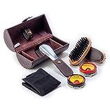 CORDAYS Estuche Viaje Limpieza Zapatos - Caja Kit Abrillantado de Calzado - Hecha a Mano en Piel Sintética Color Marrón. - CDM-00109