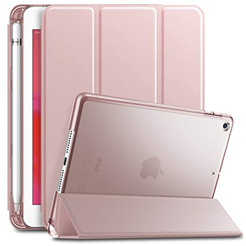Infiland iPad Mini 5 2019 Case with Apple Pencil Holder, Ultra Slim Lightweight Stand Case with Translucent Frosted Back Smart Cover for Apple iPad Mini 5th Gen 7.9-inch 2019 Release, Rose-Gold