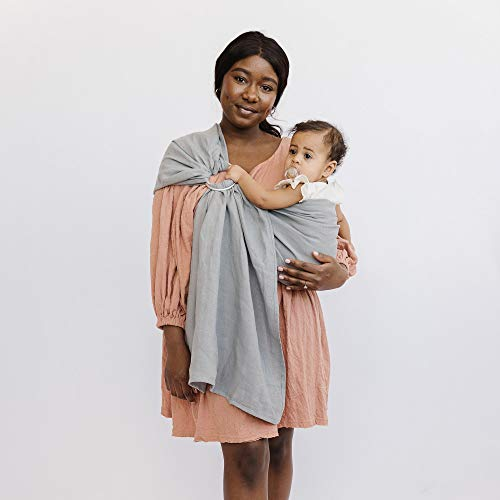 WildBird Ring Sling Baby Carrier Made from 100% Belgian Linen - Solid Color, Newborns to Toddlers - (Long 90') - (Owl Fabric/Rose Gold Ring)