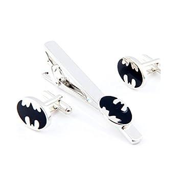 Covink Round Superhero Batman Cufflinks and Tie Clip Men s Rhodium Plated Wedding Business Cufflinks Set