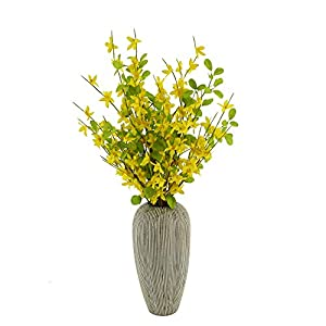 AMF0RESJ 3 PCS 27.5inch Spring Flowers Yellow Silk Fake Long Jasmine Artificial Flowers with Green Leaf Stem for Table Centerpieces Indoor Outdoor Wedding Home Bedroom livingroom Decor