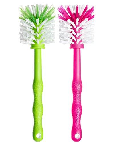 Deine Bürste 2er Set Mixbehälter Spülbürste - Reinigungsbürste perfekt zum Reinigen von Mixbehältern von Küchenmaschinen, Standmixer u.v.m. – Zubehör (1x Grün/ 1x Pink)