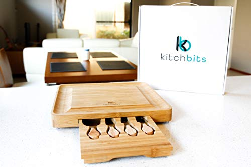 Bamboo Cheese Board and Knife Set by kitchbits - Portable wood charcuterie serving boards with slide-out cutlery drawer for stainless steel knives and accessories - Great for cutting cheeses and meat