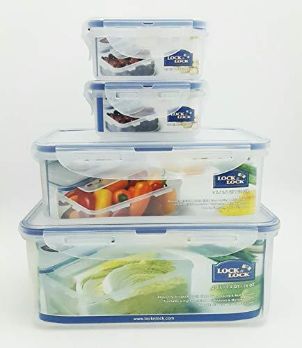 Lock & Lock Plastic Food Storage Airtight Container Set (2300ml/78oz+1000ml/34oz+(180ml/6oz×2))