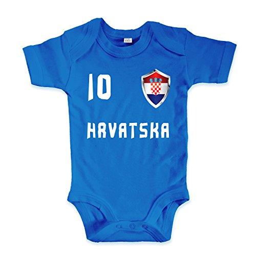 net-shirts Organic Baby Body mit Kroatien Croatia Hrvatska Trikot 02 Aufdruck Fußball Fan WM EM Strampler - Spielernummer wählbar, Größe 03-06 Monate - Spielernummer 10, blau