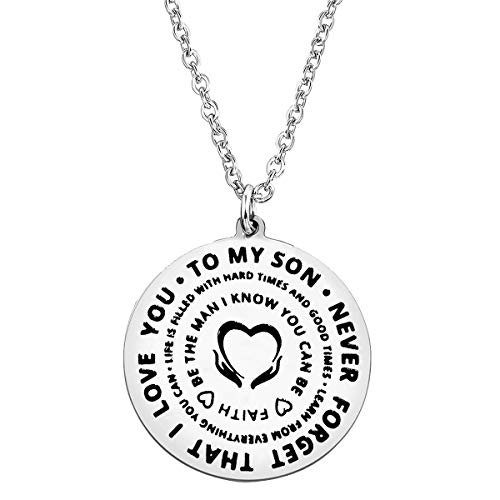 Son Gifts from Mum and Dad To My Son Necklace Never Forget That I Love You Necklace Son Birthday Gifts Christmas Gifts Graduation Gifts for Son