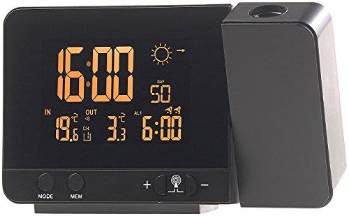 infactory Projektionsuhr: Funk-Wetterstation mit Projektions-Wecker, Außensensor & USB, schwarz (Wetterstation mit Projektionsuhr)