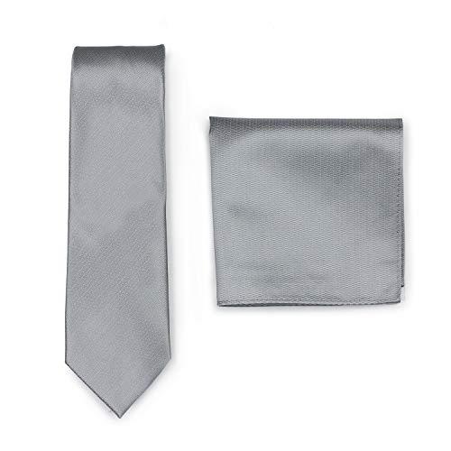 PUCCINI Krawatte mit Einstecktuch, einfarbiges Krawatten-Set, Tuch und Herrenkrawatte (Silber)