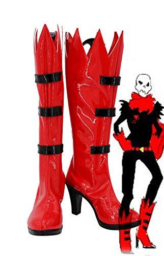 Botas de Cosplay Underfell Papyrus zapatos rojos de tacón alto hechos a medida para mujeres adultas niñas 43