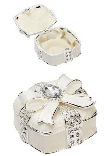 Anablep (UK) Ltd Argento placcato & resina epossidica quadrato portagioie con scatola e cristalli