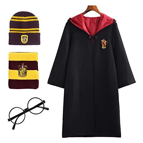 FStory&Winyee Harry Potter Kostüm Kinder Erwachsene Umhang Unisex Gryffindor Hufflepuff Ravenclaw Slytherin Fanartikel Fasching Outfit Set Cape,Brille,Mütze,Schal