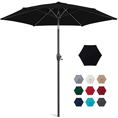 Best Choice Products 7.5ft Heavy-Duty Round Outdoor Market Patio Umbrella w/Steel Pole, Push Button Tilt, Easy Crank Lift - Black