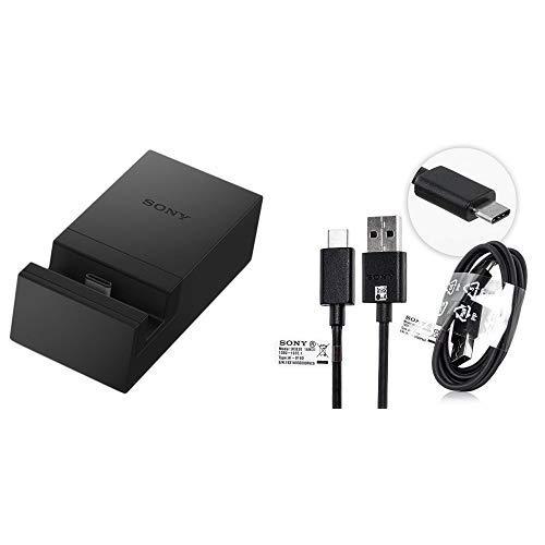 Sony 1303-6194 Dockingstation DK60 schwarz & Echt Schwarz Typ C USB Daten Kabel Xperia XT/Xperia X Compact/Xperia L1/Xperia XZS/Xperia XA1/Xperia X Premium kompatibel