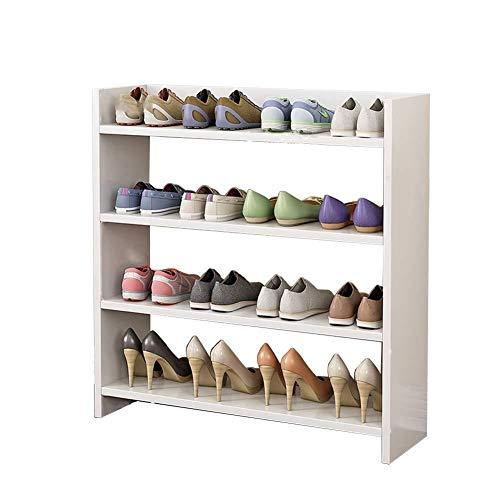 B-fengliu Estante del Zapato de Madera, apilable, de 5 etapas, Zapato Organizada Almacenamiento, Ahorro de Espacio Guía - Marco de Acero Inoxidable (Size : White)