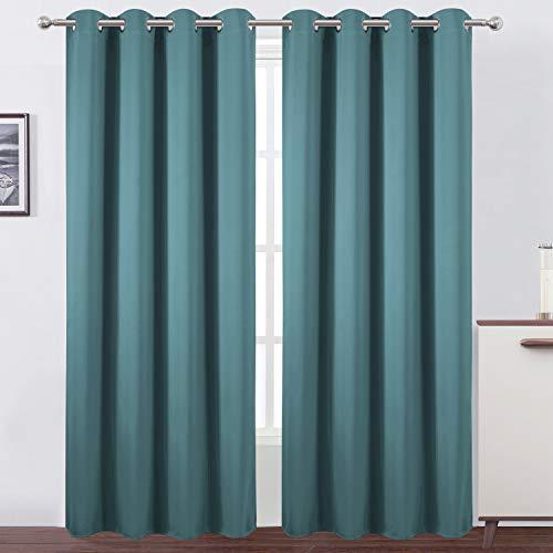 LEMOMO Sea Teal Thermal Blackout Curtains/52 x 84 Inch/Set of 2 Panels Room Darkening Curtains