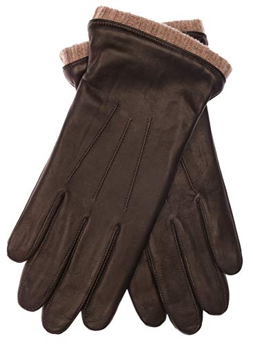 EEM Herren Leder Handschuhe BJOERN aus Lammnappaleder mit Strickstulpe und Fleecefutter; braun, M