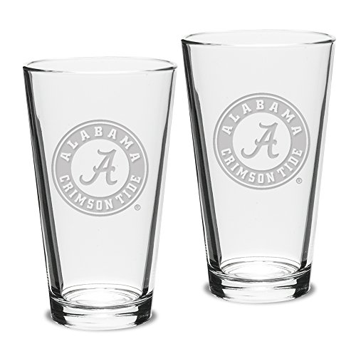 University Glass NCAA Alabama Crimson Tide Pub Pint Glasses, 16 Ounce (Pack of 2) Deep Etch Engraved, Officially Licensed Clear Beer Mixing Glasses for Adults