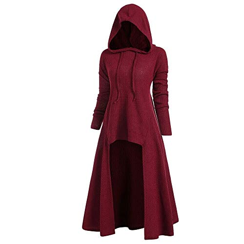 LCPK Hooded High Low Drop Shoulder Longline Sweater (Weinrot, L)