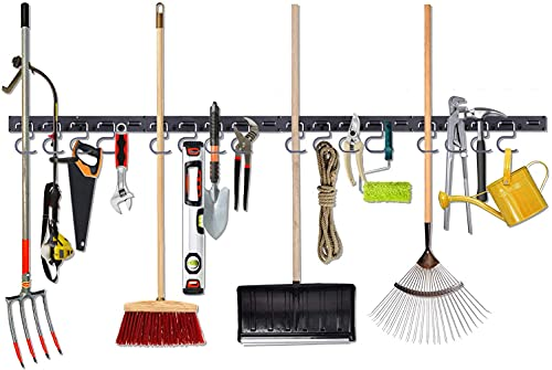 Garden Tool Organizer, 64 Inch Garage Wall Organizers and Storage, Adjustable Storage System, Wall Holders for Tools, Wall Mount Tool Organizer, Heavy Duty Tools Hanger with 4 Rails 16 Hooks