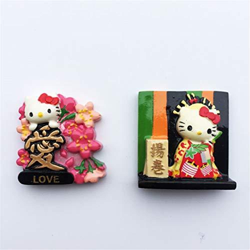 TDCTshop Chat Japonais Hello Kitty, résine 3D, Aimant pour réfrigérateur, Fait Main, Souvenirs de Voyage, décoration d'articles de Cuisine et d'articles ménagers.