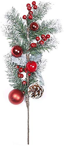 MGE 2pcs 19inch Christmas Red Berry Picks Artificial Frosted Pine Stems with Red Berries Pinecone and Christmas Balls Ornaments for Flower Arrangements Wreaths and Holiday Decorations (Size : 2pcs)