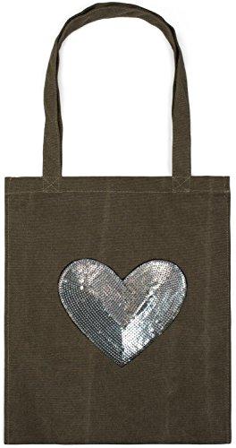 styleBREAKER Bolsa para Compras con aplicación de corazón con Lentejuelas, Bolso de Hombro, Bolsa de Tela. Bolso, Unisex 02012212, Color:Verde Oliva