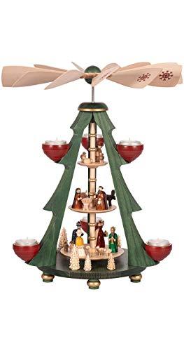 Richard Glässer Seiffen German christmas pyramid Nativity scene, 3-tier, height 40 cm / 16 inch, original Erzgebirge by Richard Glaesser Seiffen