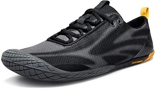 TSLA Men's Trail Running Shoes, Lightweight Athletic Zero Drop Barefoot Shoes, Non Slip Outdoor Walking Minimalist Shoes, Barefoot(bk32) - Black & Grey, 12