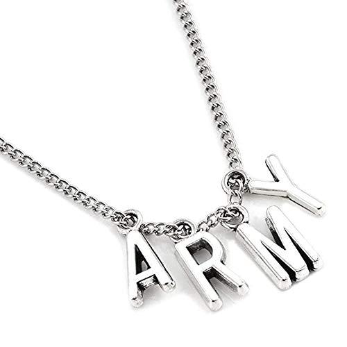 cheap4uk Collar de ídolo BTS, Que Contiene Las Letras A, R, M, Y, Collar a Juego de Moda para Hombres y Mujeres, Plateado
