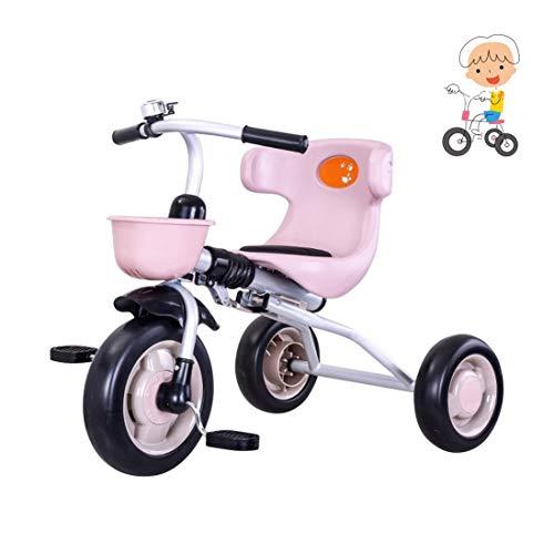 WENJIE Plegable Base Triciclo Triciclo 孩子 孩子 estimado Triciclo 1-3-6 推 婴 儿 自 línea 车 的 孩子 Triciclo 轻便 Hombre Base 孩 女 孩 骑 马 玩 Herramienta de Mano Base Triciclo (Color : Pink)