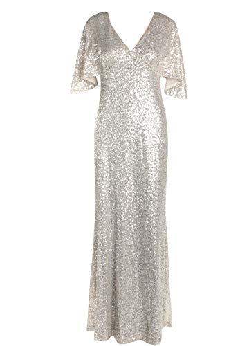 Lauren Ralph Lauren Damen Jamelia Pailletten-Abendkleid, langes Abendkleid, Silber 2