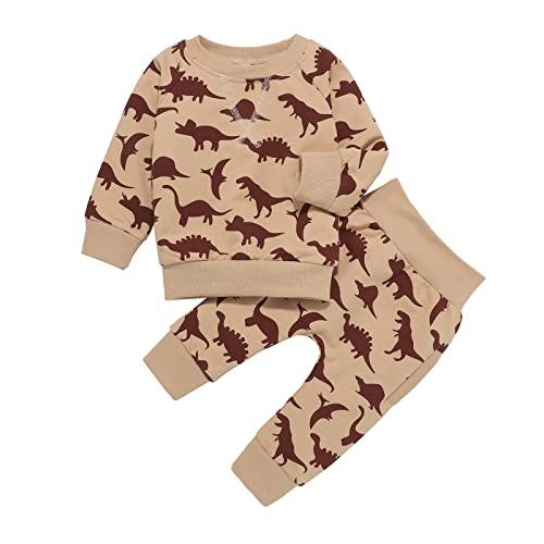 Conjunto de ropa de otoño e invierno recién nacido, ropa de otoño para niñas nuevo dinosaurio impresión suéter traje de dos piezas, Jengibre, 110 cm